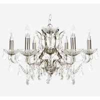Satin Silver Six Light Chandelier In Clear Crystal Drops