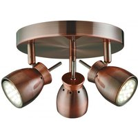 Jupiter Antique Copper Three Light Ceiling Spotlight With