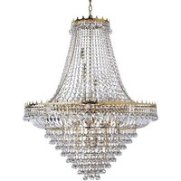 Versailles Gold 19 Light Chandelier Trimmed With Crystal