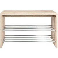 Merin Wooden Oak Shoe Bench With Chrome Finish 2 Shelf