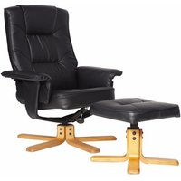Canzone Recliner Chair In Black Faux Leather With Footstool