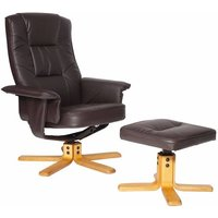 Canzone Recliner Chair In Brown Faux Leather With Footstool