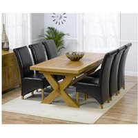 Carlotta Extending Solid Oak Dining Table And 6 Leather Chai