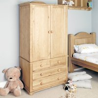 Product photograph showing Amila Wooden Childrens Double Wardrobe In Oak