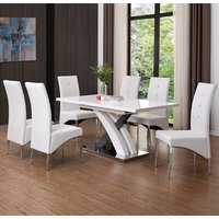 Axara Extendable Dining Table In White With 6 Vesta White Chairs