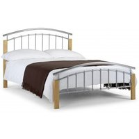 Azzmy Metal Single Bed In Aluminium and Oak Finish