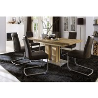 Bari Extendable Solid Oak Dining Table With 6 Flair Chairs