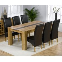 Beatrice Oak Dining Table With Walnut Strip And 6 Leather