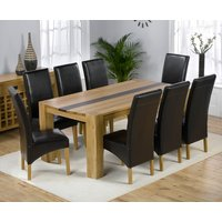 Beatrice Oak Dining Table with Walnut Strip And 8 Leather