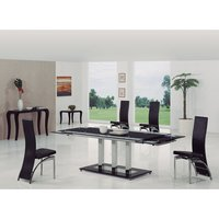 Tripod Extending Glass Dining Table In Black And 6 G501 Chai