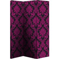 Product photograph showing Damask Black And Pink Room Divider With Flock Effect