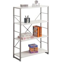 image-Kassel Tall Bookcase In Grey Frame With 4 White Gloss Shelf