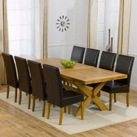 Avignon Oak Extending Dining Table And 8 Brown Rustique