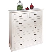 Cassala2 White 6 Drawers Chest In Solid Pine Wood