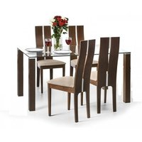 Everton Glass Dining Table In Clear And Walnut With 4 Chairs