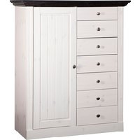 Monika Drawers Chest In White Black Solid Pine And 7 Drawers