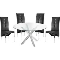 Product photograph showing Crossley Round Glass Dining Table With 4 Vesta Black Chairs