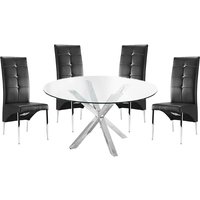 Crossley Round Glass Dining Table With 4 Vesta Black Chairs