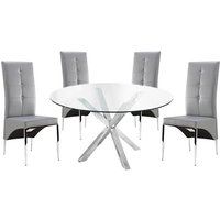 Crossley Round Glass Dining Table With 4 Vesta Grey Chairs