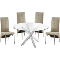 Product photograph showing Crossley Round Glass Dining Table With 4 Vesta Taupe Chairs