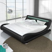 Product photograph showing Modern Designer King Size Bed In Black Pu With Multi Led
