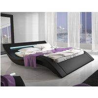 Product photograph showing Sienna Designer King Size Bed In Black Pu With Multi Led