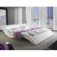 Sienna Designer King Size Bed In White PU With Multi LED