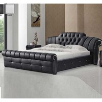 Veronica Chesterfield Style King Bed In Black Bonded Leather