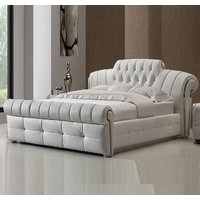 Veronica Chesterfield King Bed In White Bonded Leather