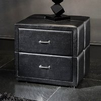 Vespa Contemporary 2 Drawer Black Faux Leather Bedside Drawers