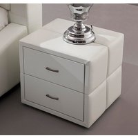 Vespa Contemporary 2 Drawer White Faux Leather Bedside Drawers