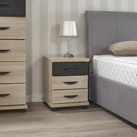 Margate Bedside Cabinet In Sonoma Oak And Black With 3 Drawers
