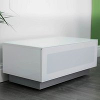 image-Castle LCD TV Stand Small In White With Glass Door