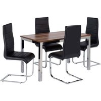 Stuman Small Walnut Rectangular Dining Table And 4 Dining Chairs