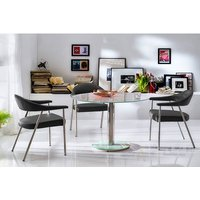 Falko Frosted Glass Top Round Dining Table With 4 Aurelia Ch