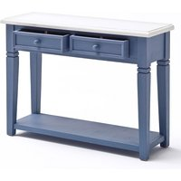 Falcon Console Table With Drawers In Solid Blue Pine