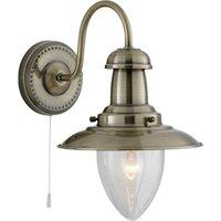 Fisherman 1 Light Antique Brass Wall Lamp