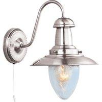 Fisherman 1 Light Satin Silver Wall Lamp