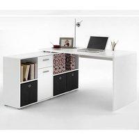 Flexi Wooden Corner Computer Desk In White