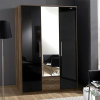Gastineau 3 Door Wardrobe In Walnut And Black With Mirror