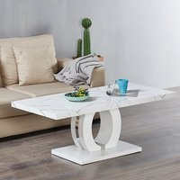 Product photograph showing Halo Coffee Table In Shiny Vida Finish And High Gloss White