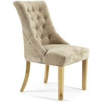 Milena Dining Chair In Mink Fabric With Oak Legs in A Pair