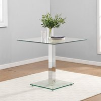 Product photograph showing Hartley Bistro Dining Table With Clear Glass Base