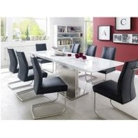 Helio Extendable Glass Dining Table With 8 Alamona Black