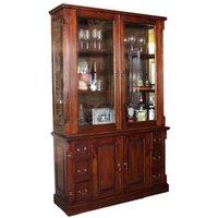 Belarus 2 Glass Doors Display Cabinet With Sideboard In Mahogany