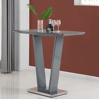 Product photograph showing Iko High Gloss Bar Table In Grey With Stainless Steel Base