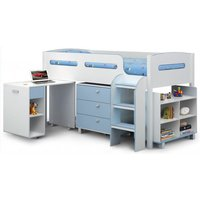 Product photograph showing Kimbo Children Cabin Bed In White And Sky Blue