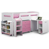 Product photograph showing Kimbo Children Cabin Bed In White And Soft Pink