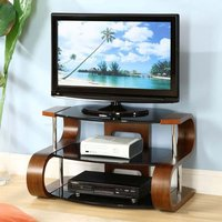 image-Curved Wooden LCD TV Stand Large In Walnut Veneer