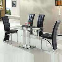 Jet Small Clear Glass Dining Table With 4 Ravenna Black Chai